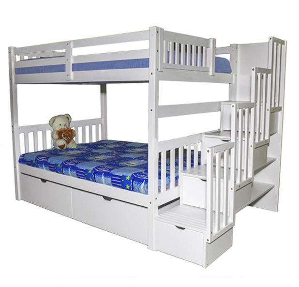 Sca Bellagio Stairway Full Over Full Bunk Bed White