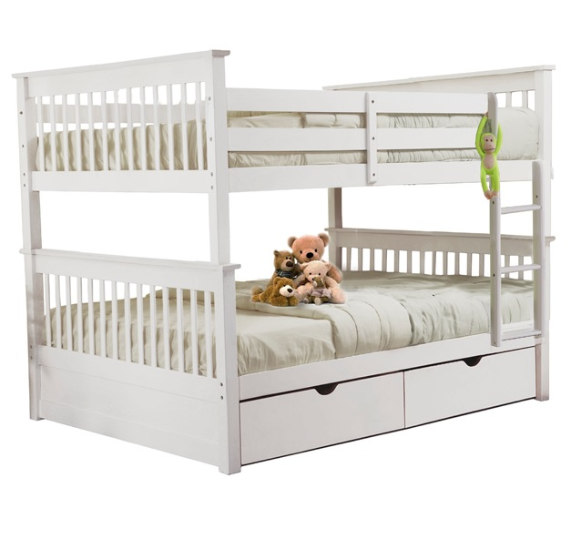 Sydney Full over Full Bunk Bed with Trundle Drawers White
