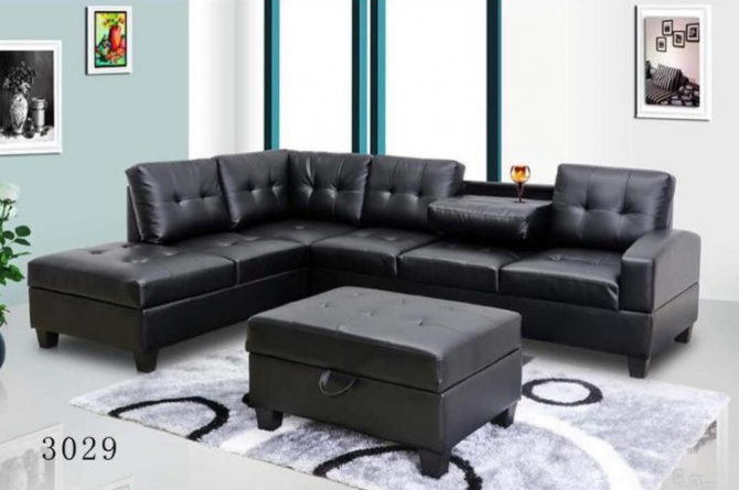 SOFA COUCH WITH MATCHING OTTOMAN BONDED LEATHER