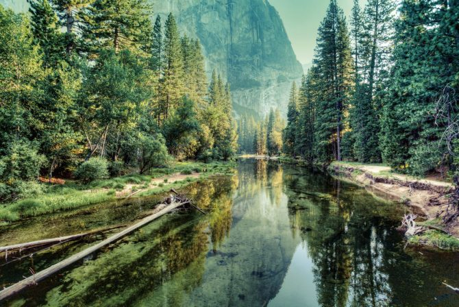 Yosemite Valley Landscape and River, California