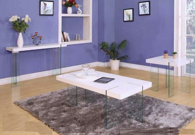 MODERN WHITE GLOSSY COFFEE TABLE WITH GLASS LEGS