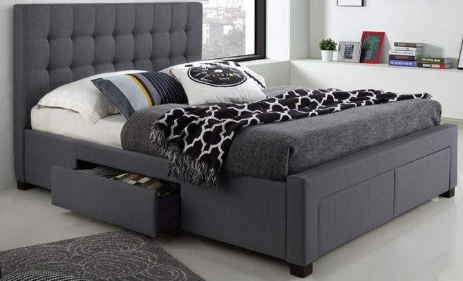 UPHOLSTERED FABRIC BED WITH DRAWERS ON FOOTBOARD AND RAILS