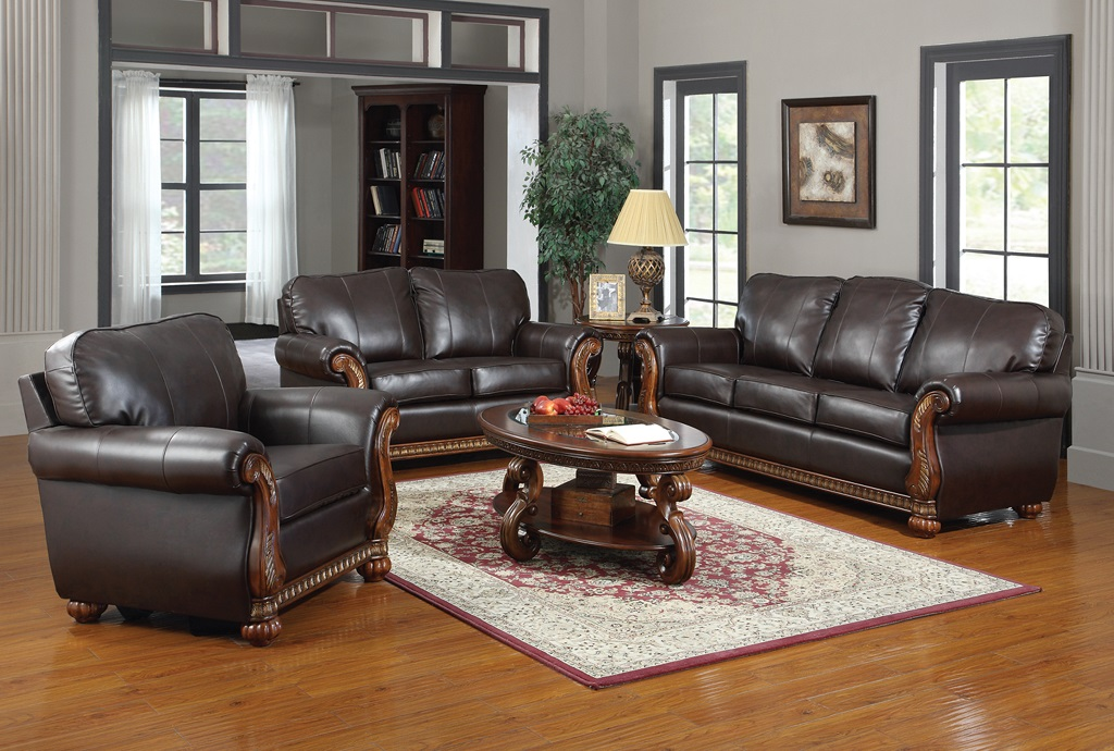 Regency leather sofa set furtado furniture for Regency furniture living room sets