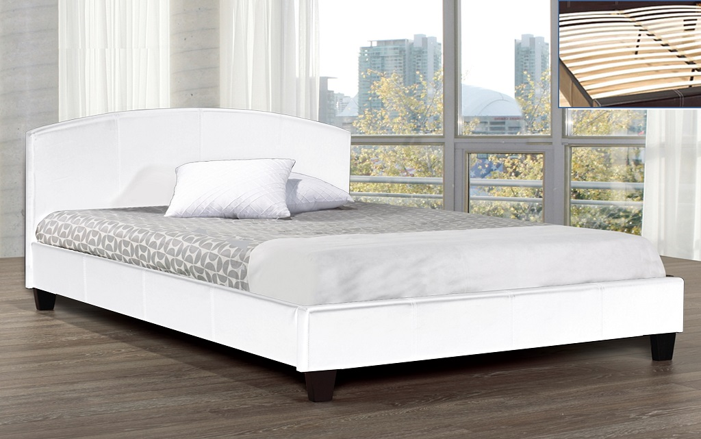 R2350 Upholstered White Leather Bed