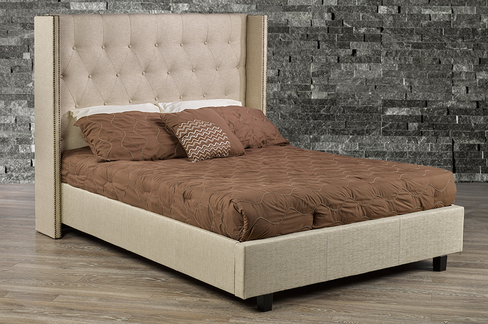 R166 Beige Fabric bed