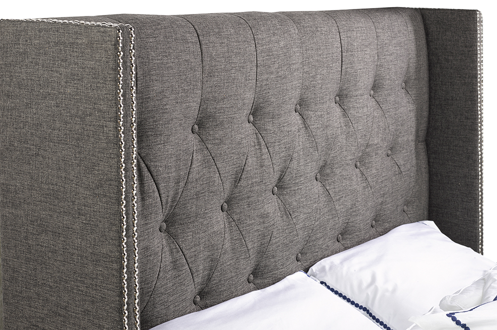 R166 Grey Fabric Bed headboard