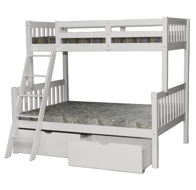 SCA-Verona Twin over Full Bunk Bed With Drawers White