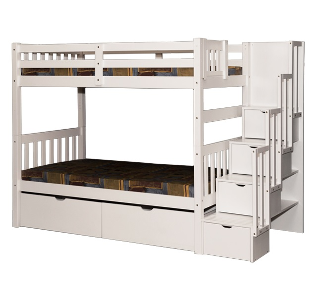 Wynn Stairway Twin over Twin Bunk Bed White
