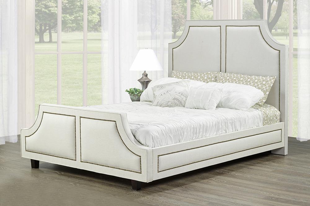 R185 Upholstered Bed White
