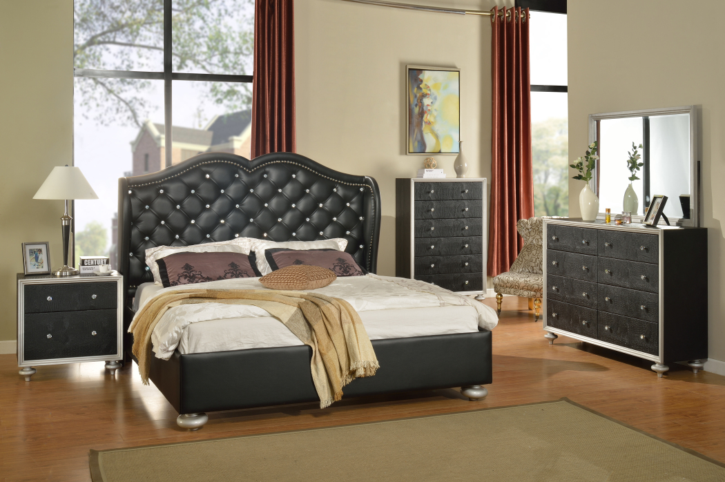 Hollywood Black Bedroom Set
