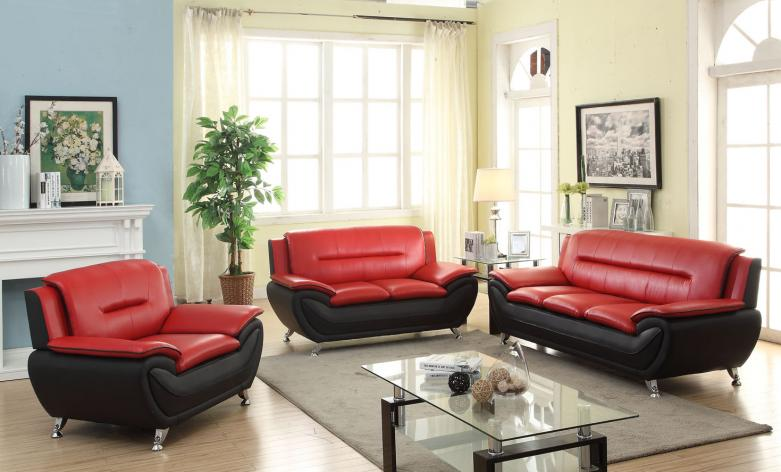 MEG-3350-Red Leather Sofa Set