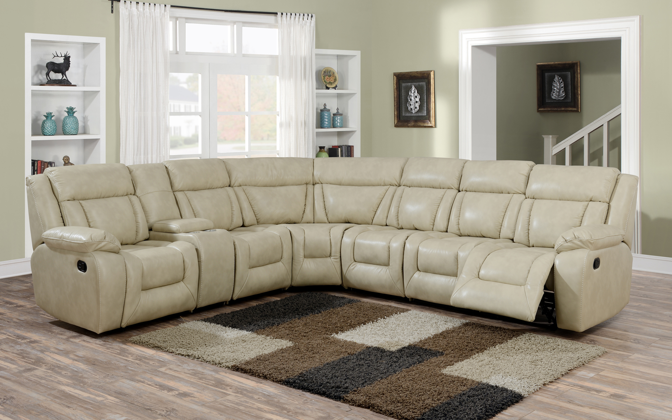 evergreen beige leather recliner sectional furtado furniture. Black Bedroom Furniture Sets. Home Design Ideas